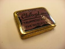 Phonograph Victrola Gramophone Needle Tin - Cliftophone Trumpeter - Empty