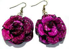 Boucles d'Oreilles Fleur Cuir Rose Violet Bijoux Artisanat Flower Earrings