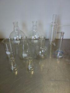 Labor Schlangenkühler, Glaskolben, Schott Duran Glas, Konvolut