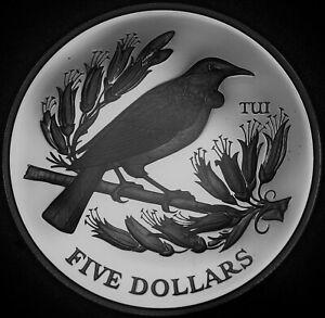New Zealand 5 Dollars, 1995 Silver Proof~7,000 Minted~Tui Bird