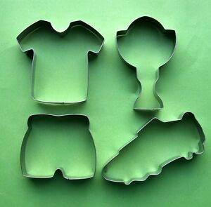 Soccer Football Sneaker Jersey Shorts Prize Cup Fondant Cookie Cutter Metal Set