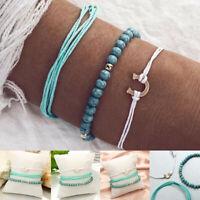 3Pcs/Set Multilayer Bracelet Braided Rope Turquoise Women Chain Boho Jewelry