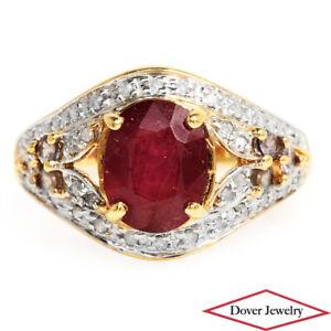 Estate Diamond Ruby Alexandrite 10K Gold Cluster Ring NR