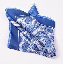 New CESARE ATTOLINI NAPOLI Blue-White Large Paisley Print Silk Pocket Square