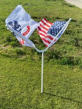 """New 1"""" Heavy Duty PVC Double Spinner Flag Pole Kit WITHOUT flags"""