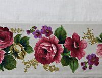 VINTAGE AUTHENTIC FLORAL ART ROSES FRAME IVORY PINK GREEN LINEN BLEND TABLECLOTH