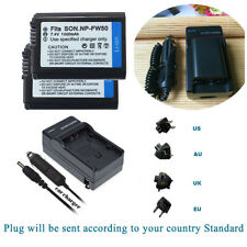 2X NP-FW50 Battery+CAR WALL charger for Sony A5000 A6000 NEX 7 5T 5R 5N 5C 3N A7