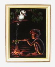 Vintage Aboriginal Child Painting On Velvet Kookaburra Campfire Australiana