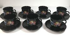 Set of 7 Arcoroc France Black Blue Red Flowers Coffee Cups Tea Cups & Saucers