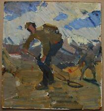Russian Ukrainian Soviet Oil Painting realism impressionism sapper WW2 sketch