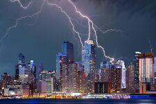 """""""New York Lightning Bolt"""" Canvas Wall Art Ready to Hang on The Wall"""