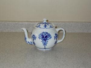 "Vintage Flow Blue Buffalo Pottery 7"" Teapot with Rose Design"