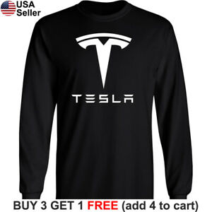 Tesla Long T-Shirt Motors Logo Emblem Elon Musk Car Men Racing