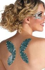 Fairy Wings Glitter Fake Temporary Tattoo Blue