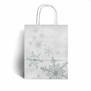 HALF PRICE Silver Snowflake Premium Christmas Carrier 32 x 41 + 12cm x 1 Bag