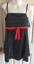 A Shore fit Women's Plus Bandeau Swim Dress  Black Polka Dot size 16  $98 NWT