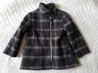 Cherokee Baby Unisex Plaid Jacket Coat Wool Blend Gray 2T