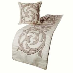 King Queen Twin Ivory Beige Decorative Bed Runner Linen Applique - Pretty Dainty