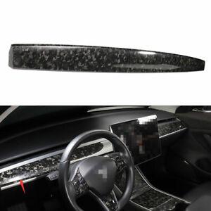 Forged Carbon Fiber Central Console Dashboard Strip Trim For Tesla Model 3 17-21