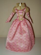 Barbie Princess Cinderella Masquerade Dress Medieval Renaissance Gown Pink Gold