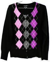 Apt.9 100% Cashmere Cardigan Sweater Women's M  Argyle Pattern Various NWOT
