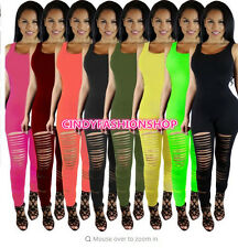 Women Ladies Club wear Play suit Sleeveless Hole Body con Party Jumpsuit&Romper