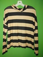 3461) NWOT CHICO'S sz 1 beige black stripe jersey knit top high neck new 1