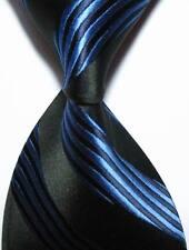 New Classic Striped Blue Black JACQUARD WOVEN 100% Silk Men's Tie Necktie