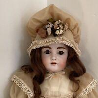 """22"""" Antique Kestner Bisque Head Doll Germany DEP #10 195 Fur Eyebrows Orig Shoes"""