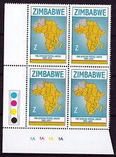 Zimbabwe 2010 PAPU (Postal Union) Cylinder Blocks 1A, MNH (sheet corner)