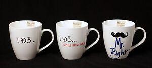 Pfaltzgraff Everyday Coffee Mugs Cups I Do Wedding Romantic 18 Oz Mr Right New