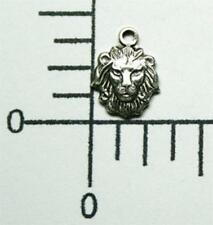44734         4 Pc Matte Silver Oxidized Small Lion's Head Charm Jewelry Finding