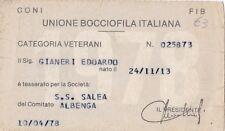 TESSERA UNIONE BOCCIOFILA ITALIANA ALBENGA 1978 8-158