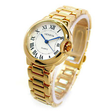 Gold Small Case Classic Roman Dial Quartz Geneva Women's Bracelet Watch