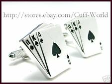 """3 Card Poker"" Royal Flush Cuff Links cufflinks #C-132"