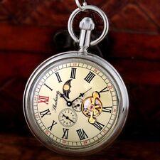 Steampunk Moon Phase Tourbillon Windup Mechanical Pocket Watch Chain Open Face