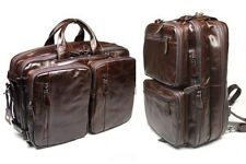 Multifunction Genuine Leather Men's Backpack Travel bag Briefcases Laptop Brown