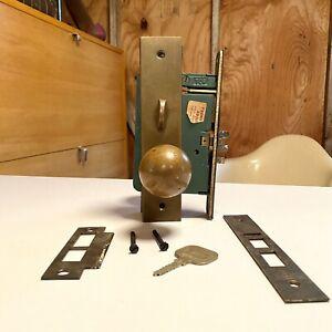 Vintage Heavy Bronze RUSSWIN Door Knob / Lock / Key From Old Atlanta Hotel