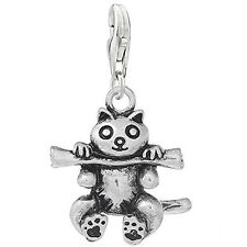 Raccoon Holding Stick Clip on Pendant Charm for Bracelet or Necklace
