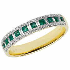 Unbranded Yellow Gold Emerald Eternity Fine Rings