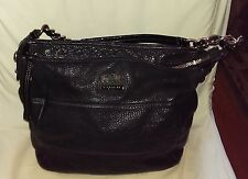 COACH HANDBAG MADISON MIA TRIBECA CHAIN STRAP BLACK LEATHER 14109 SIDE POCKETS