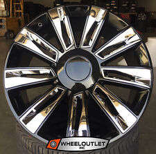 """22"""" Rims 2016 Platinum Black Chrome Wheels Cadillac Escalade EXT ESV Silverado"""