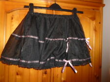 Cute black tulle net short skirt with lining, pink ribbon, CLASSIFIED size Small