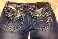 STUNNING DISTRESSED MISS ME JEANS 25(27) x 26 CRYSTAL and SEQUENCE FLAP POCKETS