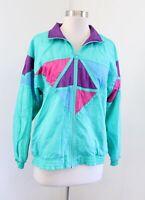 Vtg 90s Teal Pink Purple Color Block Windbreaker Track Jacket Size PM MP Retro