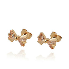 Luckky 14K Gold Filled Triangle CZ Cute Bow Small Stud Earrings Girls womens