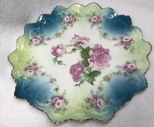 Vintage Rose Porcelain Plate Acorn Mark Gold Trim.