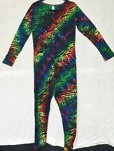 Ladies Pajama's Jumpsuit, Size 12,  Rainbow Revolution Tie-Dye, 100% Cotton  K3