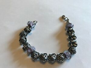 Trollbeads sterling bracelet and charms owl theme with purple glass beads