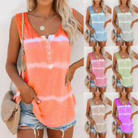AU Womens Summer Tie-dye Sleeveless Tank Tops Loose Shirts Tops Blouse Plus Size